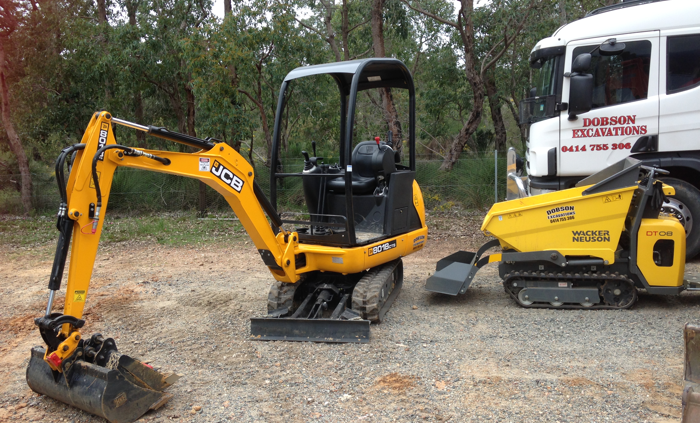 PERTH EARTHMOVING AND EXCAVATIONS CONTRACTORS DOBSON EXCAVATIONS 2 Ton Excavator and dump truck