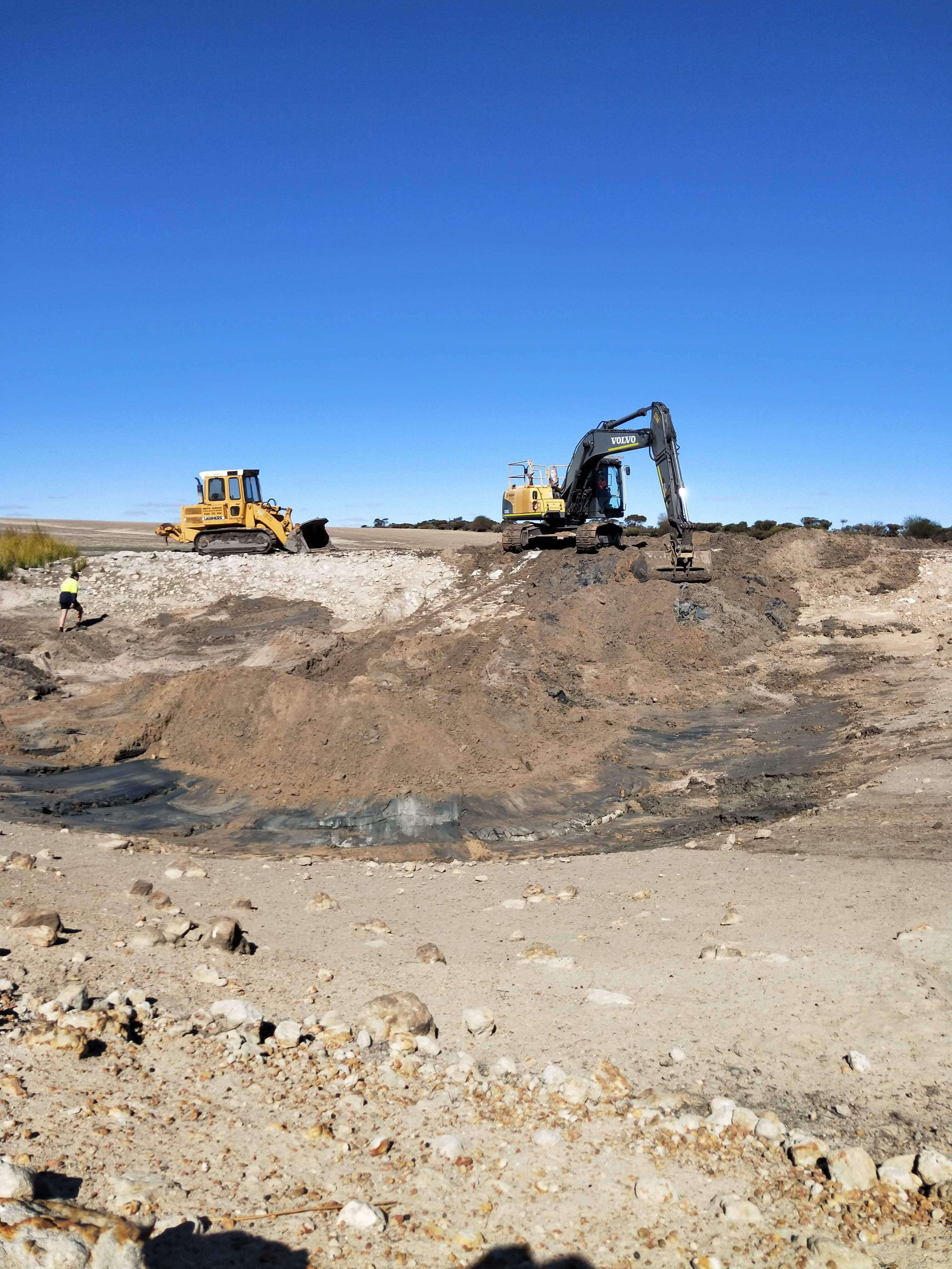 Dobson Excavations Dam Cleaning, Extending and Construction Dam Expanding Using Excavator