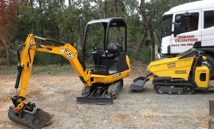 Dobson Excavations excavator and dump truck